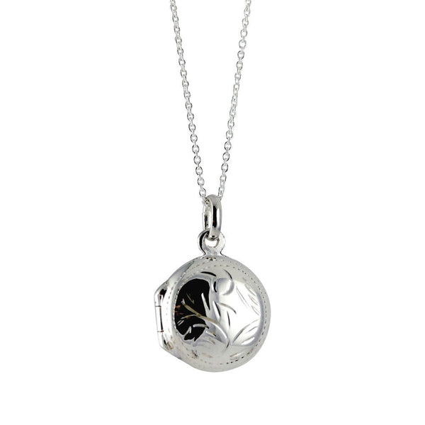 Sterling Silver Mini Round Locket Pendant Necklace