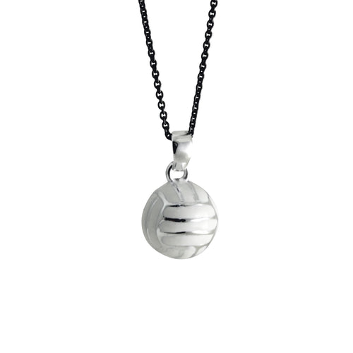 Silver Volleyball Enamel Pendant Necklace
