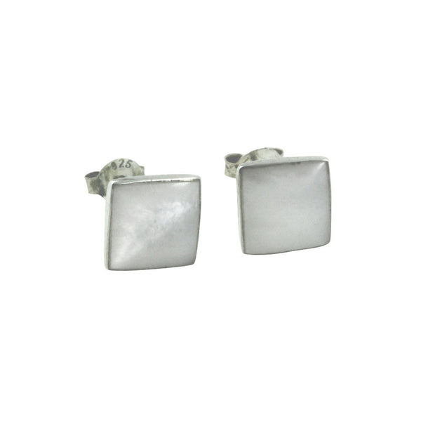 Sterling Silver Mother of Pearl Square Stud Earrings