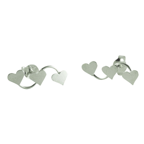 Sterling Heart Trio Crawler Stud Earrings