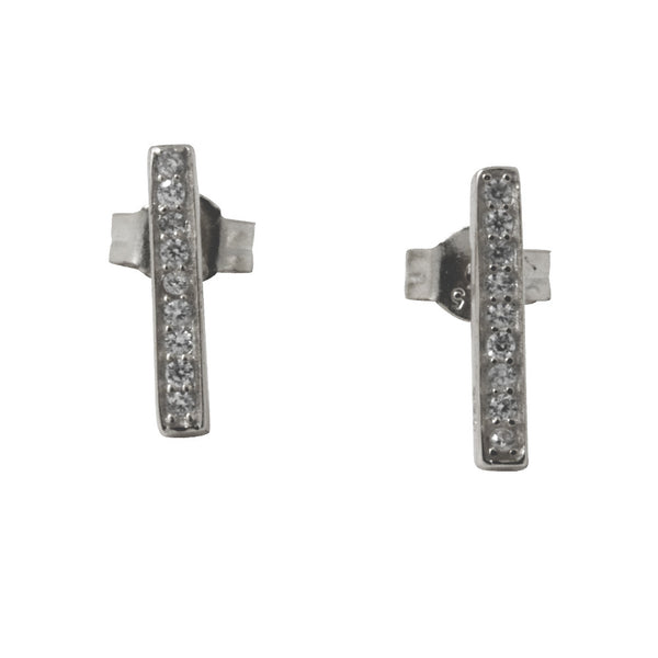 """Sparkle Bar"" Sterling Silver Mini CZ Bar Stud Earrings"