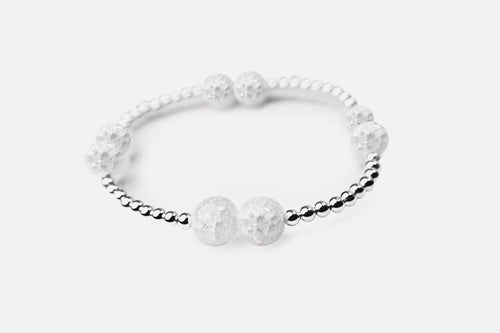 Sterling Silver Beaded Krystal Quartz Stretch Bracelet