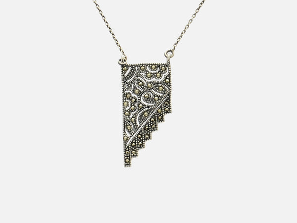 Vintage Style Sterling Silver Marcasite Pendant Necklace