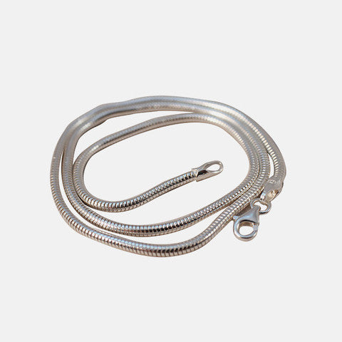 "Sterling Silver Round Snake Chain ""Slinky"" Necklace 20 inch"