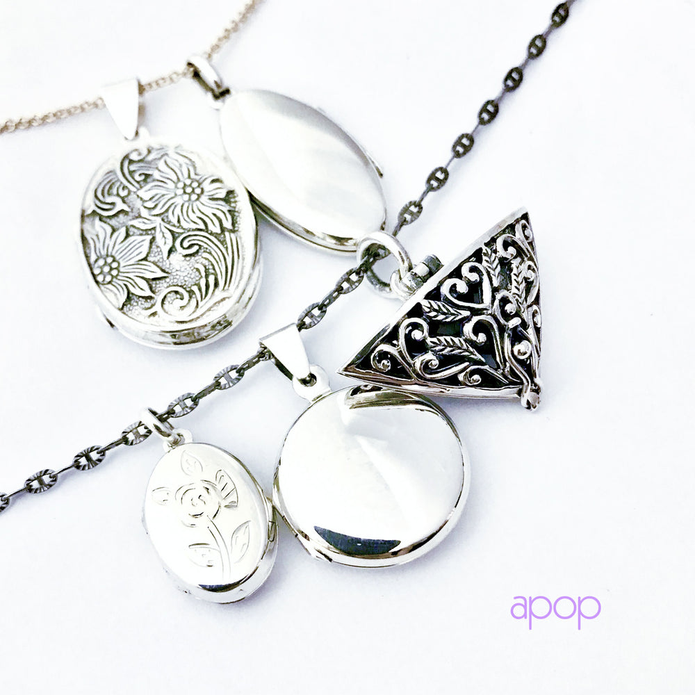Sterling Silver Vintage Style Heart Memory Locket Pendant
