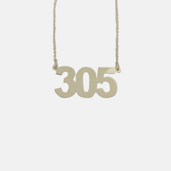 "Sterling Silver ""305"" Miami Pendant Necklace 16 inch"