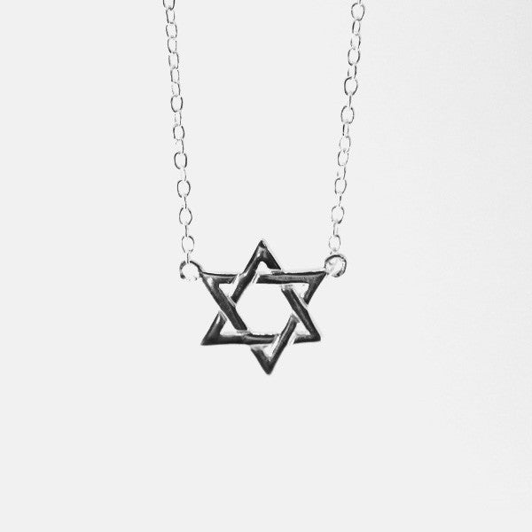Sterling Silver Star of David Necklace 16 inch