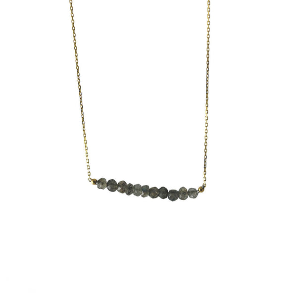Gold-Dipped Labradorite Bar Pendant Necklace