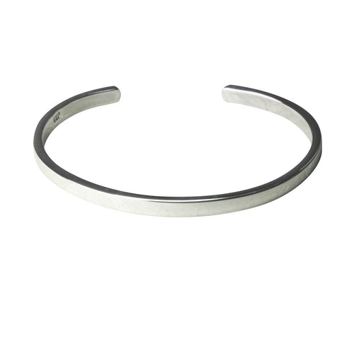 Sterling Silver Skinny Solid Open Cuff Bangle