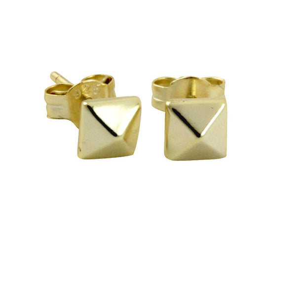 """Tiny"" Gold-Dipped Pyramid Stud Earrings Mini"