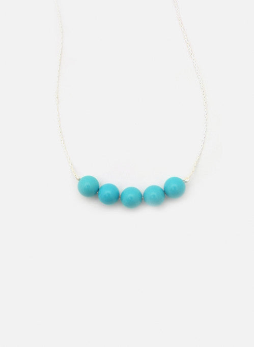 Sterling Silver Turquoise Five Bead Necklace