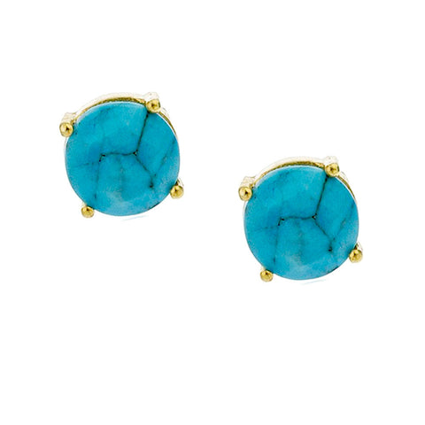 Gold-Dipped Round Turquoise Enamel Stud Earrings