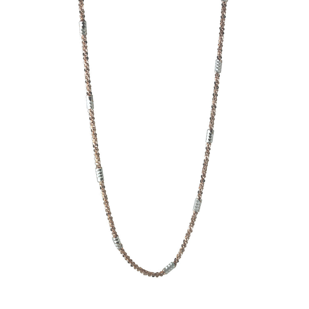 """Rosy & Silver"" Two-Tone Tube Bead Sparkles Chain Necklace"