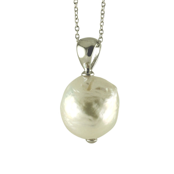 Sterling Globe Pearl Pendant Necklace