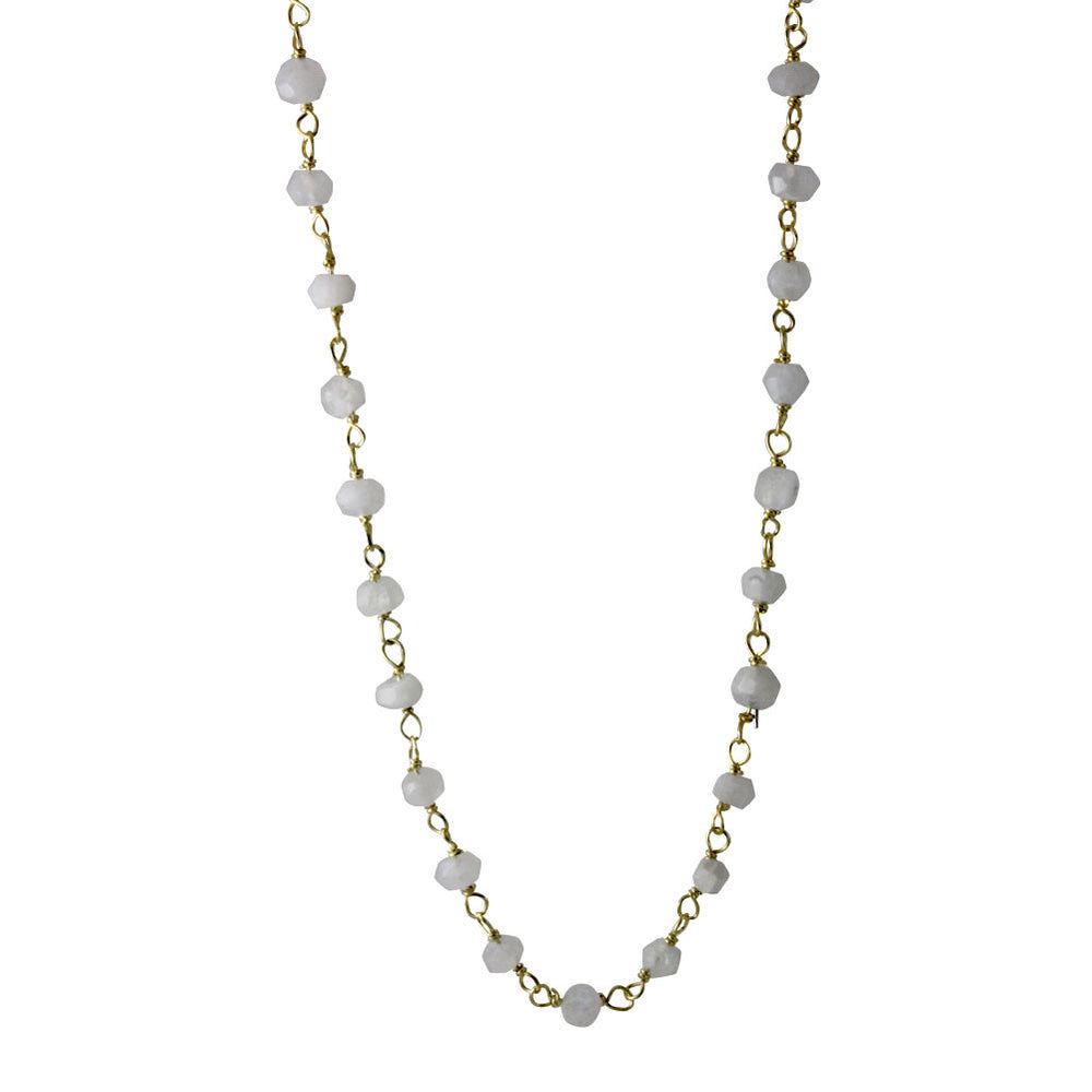 Mini White Stone Chain Layering Necklace