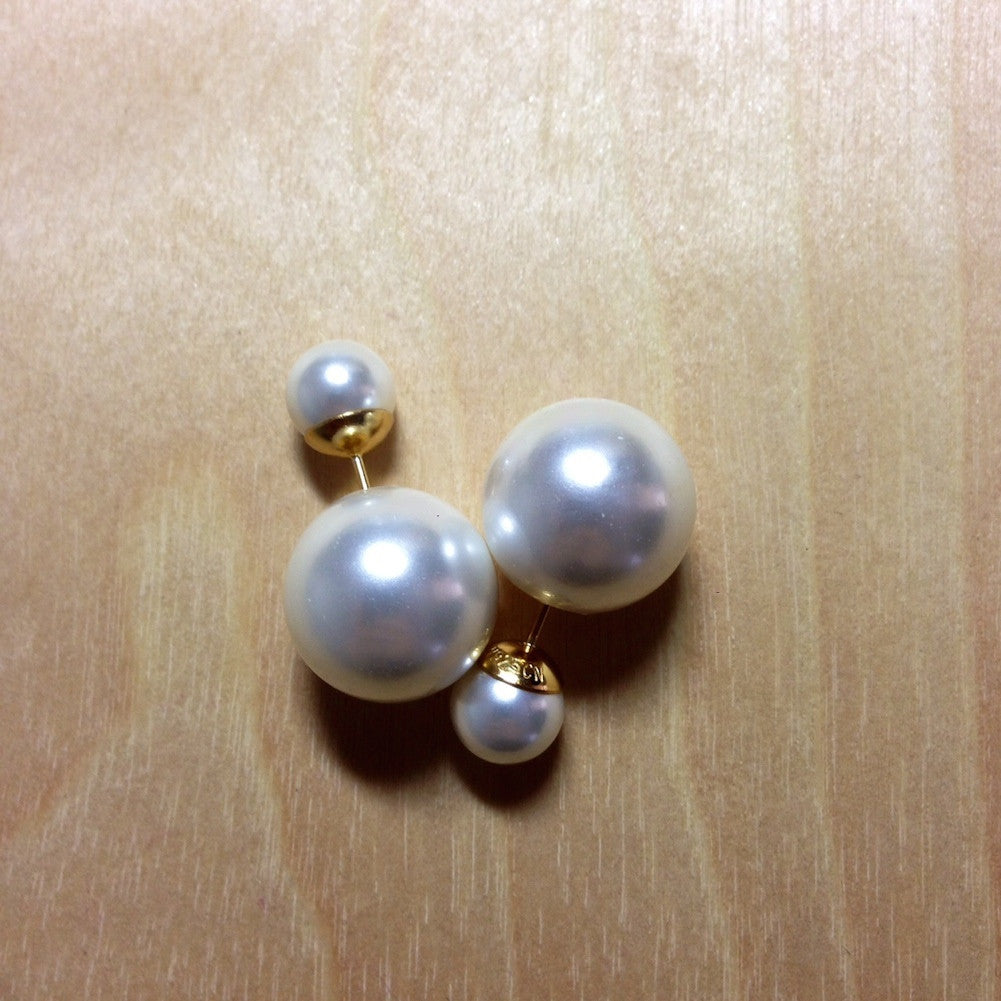 Double Sided Pearl Stud Earrings 925 Silver Post Pink Or