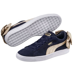 New Women's Puma Sneakers Suede Bow Navy / Gold - brand-new-original Shoes & Caps