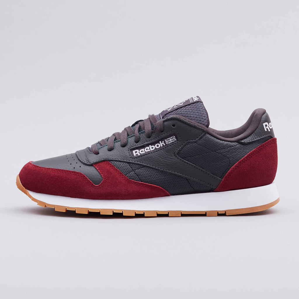 New Men's Classic Leather Sneaker Shoes Reebok Retro CL GI Grey / Cardinal - brand-new-original Shoes & Caps