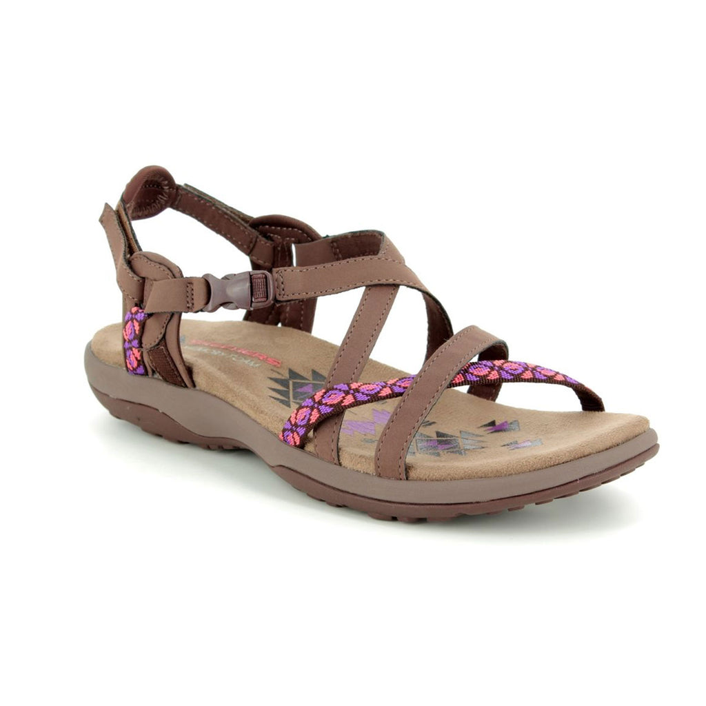 New Women's Sandals Skechers Reggae Vacay Memory Foam Chocolate Brown - brand-new-original Shoes & Caps