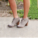 New Lunata Lace-up Bootie TOMS Taupe Suede Wool Women's - brand-new-original Shoes & Caps