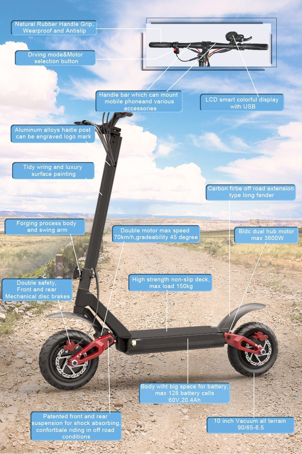 E4-9 Powerful 3600w Dual Motor Off Road Foldable Electric