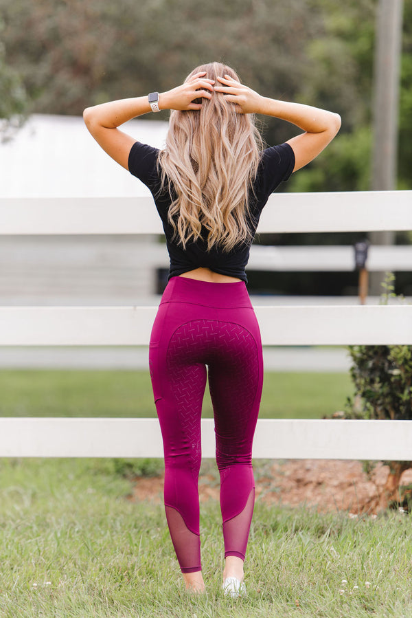 'Define' Full Seat Equestrian legging in 'Cherry Wine'