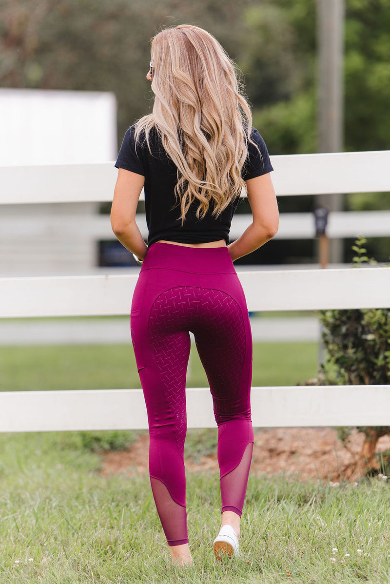 'Define' Full Seat Equestrian legging in 'Cherry Wine' Final Sale
