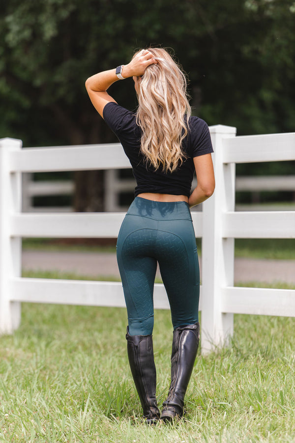 'Define' Full Seat Equestrian legging in 'Emerald' L-XL