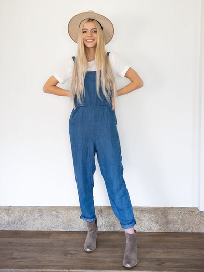 Brooklyn Blue Denim Overalls - Pink Horseshoe
