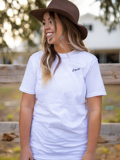 Embroidered Love White Tee - Pink Horseshoe