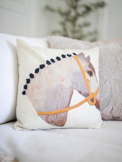 Hadley Horse Pillow - Pink Horseshoe
