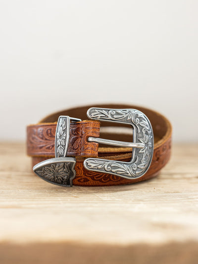 Tilly Leather Belt - Pink Horseshoe