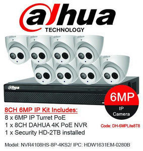 Dahua 8 x 6MP Turret Kit with 8CH NVR + 2TB HDD