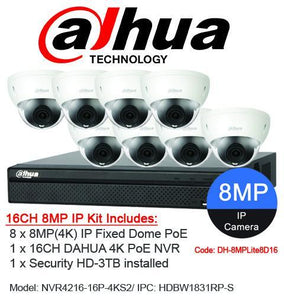 Dahua 16ch 8MP(4K) Fixed Dome Kit DH-8MPLite8D16