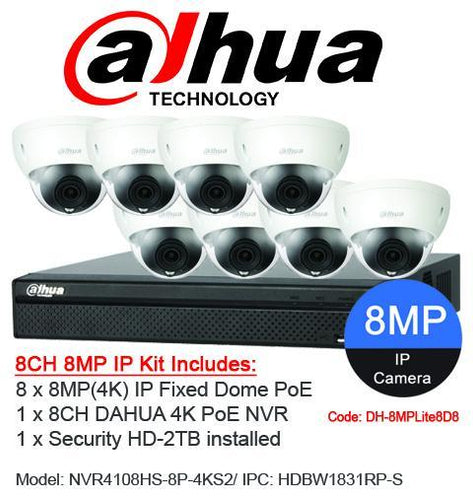 Dahua 8ch 8MP(4K) Fixed Dome DH-8MPLite8D8
