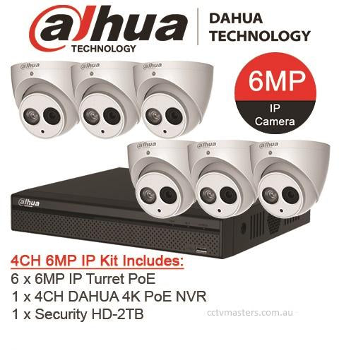 Dahua 6 x 6MP Turret Kit with 8CH NVR + 2TB HDD