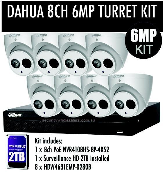 Dahua 8 x HDW4631 6MP Turret Kit with 8CH NVR + 2TB HDD