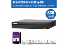 Load image into Gallery viewer, Dahua 8ch NVR 4K with 6TB HDD