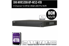 Load image into Gallery viewer, Dahua 8ch Pro NVR Record Up to 12MP, 8 Port PoE, HDMI4K, ANPR, POS, P2P + 4TB HDD