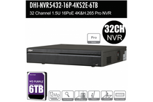 Load image into Gallery viewer, Dahua 32ch H.265+ Pro Series NVR 12MP, 6TB
