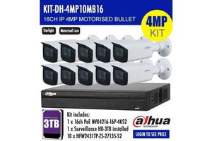 DAHUA 4MP 16CH IP MOTORISED BULLET BUNDLE KIT