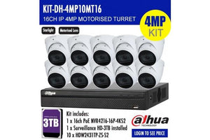 DAHUA 4MP 16CH IP MOTORISED TURRET BUNDLE KIT