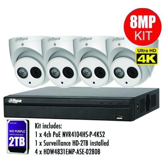 Dahua 4 x 8MP Eyeball / Turret Kit with 4CH NVR + 2TB HDD