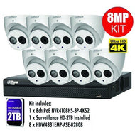 Dahua 8 x 8MP Eyeball / Turret Kit with 8CH NVR + 2TB HDD