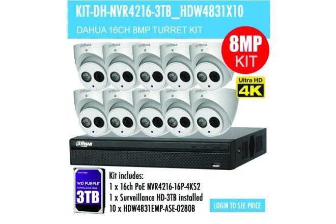 Dahua 10x 8MP Eyeball / Turret Kit with 16CH NVR + 3TB HDD