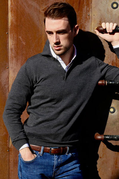 Winston & Co. Men's Charcoal Long Sleeve Merino Wool Polo Sweater