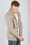Winston & Co. Cobble Tan Brown Lambswool Shawl Collar Cardigan Sweater