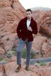 Winston & Co. Men's Burgundy Red Lambswool Wool Shawl Collar Cardigan Sweater