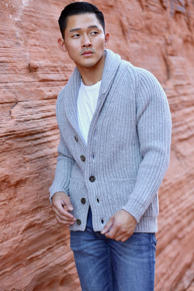 Winston & Co. Men's Light Grey Lambswool Wool Shawl Collar Cardigan Sweater