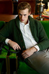 Winston & Co. Men's Rosemary Green Lambswool Wool Shawl Collar Cardigan Sweater